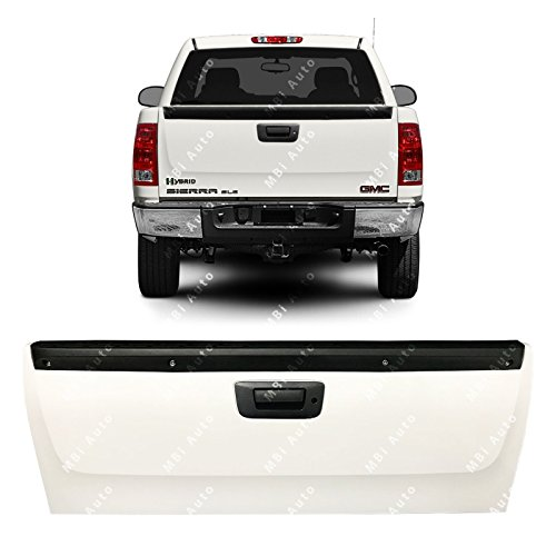MBI AUTO - Painted 8624 White Steel Tailgate Assembly for 2007-2012 Chevy Silverado & GMC Sierra w/Lock Bezel 07-12, GM1901105