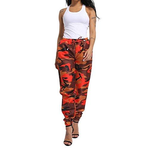 Cargo Pants Cord - Women Camo Cargo Pants,Vanvler Ladies Print Pants Loose Casual Trousers (S, Orange)