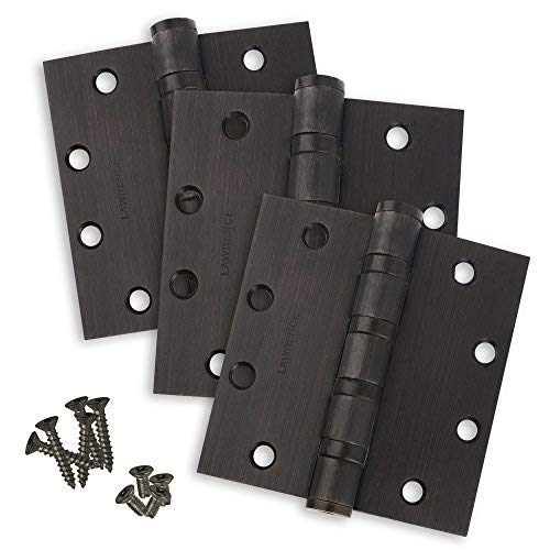 Commercial Door Hinges, Heavy Weight Butt Hinge, 4.5 x 4.5, 3 Pack, Lawrence Hardware