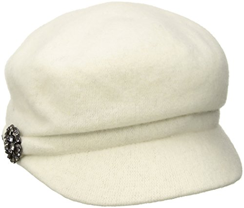 Betmar Women's Crystal Cap Wool with Rhinstone Broach