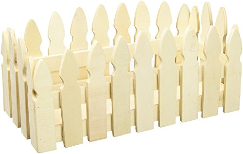 Darice Unfinished-4.3 x 9.36 inches Picket Fence Wood Container (Fence Picket Display White)