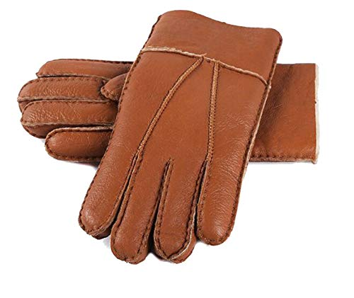 Crazy-Shop New Men Winter Gloves Warm Genuine Sheep Fur Gloves for Men Thermal Goat Fur Cashmere Real Leather Leather Snow Gloves Manual,Brown,One -