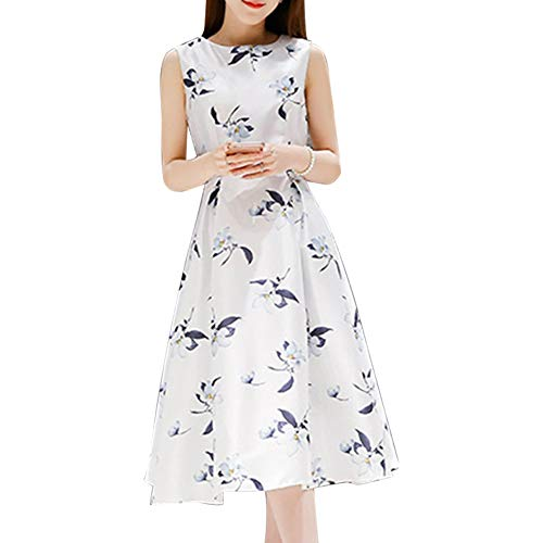 2019 Sleeveless Midi Dresses, Women Casual Wing Dress Summer Loose A -Line Design Skirt(L-White)