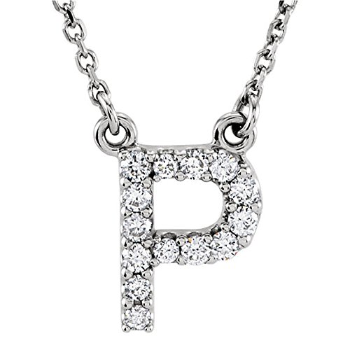Dazzlingrock Collection 0.12 Carat (ctw) 14K Diamond Uppercase Letter P Initial Pendant (Silver Chain Included), White Gold
