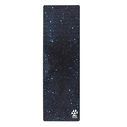 Yogi Bare Teddy Yoga Exercise Mat for HOT Yoga and Travel with Microfibre Towel - ECO Friendly Natural Rubber - Cosmic Space Print