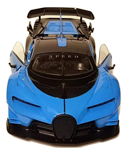 Blue Bugatti | Battery Operated Remote Control Car | Working Doors, Trunk and Lights 1/12 Scale RC