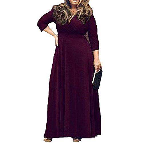 Deep Evening Elegant Womens TM Lightweight Neck BetterGirl V Dress Cocktail Plus Purple Size q6wTttR