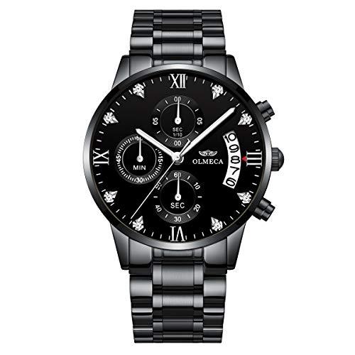 Steel Stainless Chronograph Watch Diamond (KASHIDUN Men's Watches Luxury Sports Casual Quartz Wristwatches Waterproof Chronograph Calendar Date Stainless Steel Band Black Color (A-Black Diamonds))