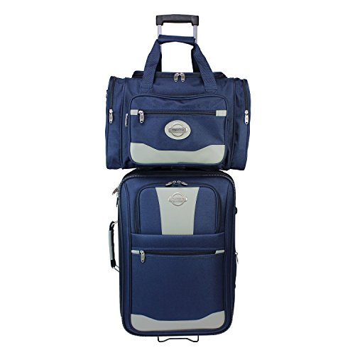 TRANSWORLD 2-Piece Expandable Wheeled Carry-on Luggage Set, (Eva Expandable Luggage Set)