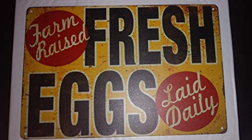 Tin Sign Fresh Eggs Laid Daily Rooster Chicken Decor Farm Barn Coop Dairy Kitchen Sign - Tin Sale