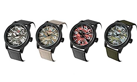 Amazon.com: Hot Mens Military Camouflage Watches Inexpensive Unique Camouflage Dial Green Nylon Strap Midsized Skeleton Hands: Watches