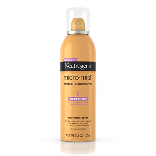 Spray Tanning Lotion - Neutrogena Micromist Airbrush Sunless Tanning Spray with Witch Hazel, Gradual Sunless Tanner with Alcohol-Free, Oil-Free & Non-Comedogenic Formula, Medium Intensity, 5.3 oz