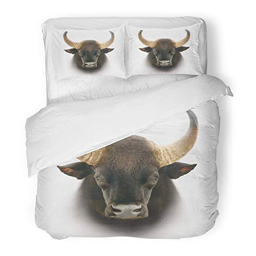 Emvency 3 Piece Duvet Cover Set Brushed Microfiber Fabric Breathable Ancient Gaur Head White Animal Bone Bovine Buffalo Bull Cattle Closeup Bedding Set with 2 Pillow Covers Full/Queen Size