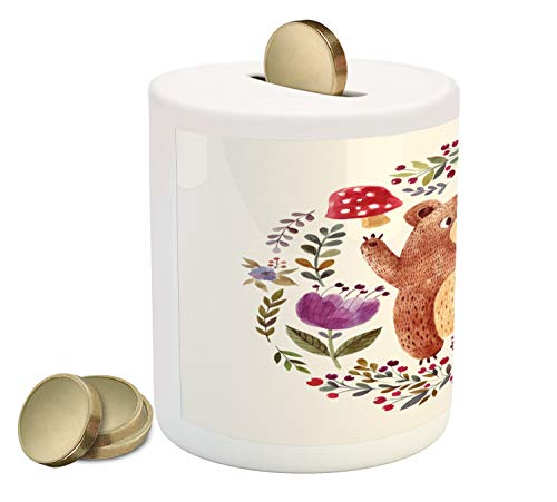Ambesonne Bear Piggy Bank, Baby Mammal Surrounded with Floral Wreath Bouquet Tulip Blossom Mushroom Watercolor, Printed Ceramic Coin Bank Money Box for Cash Saving, ()