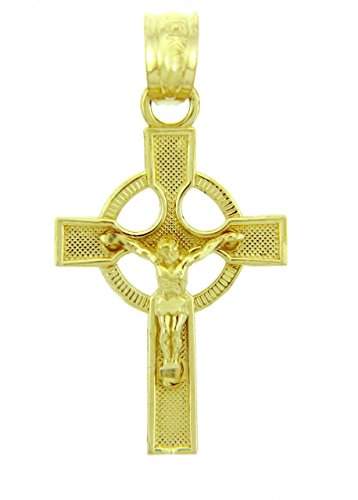 Solid 14k Yellow Gold Ancient Celtic Cross Charm Eternity Crucifix Pendant