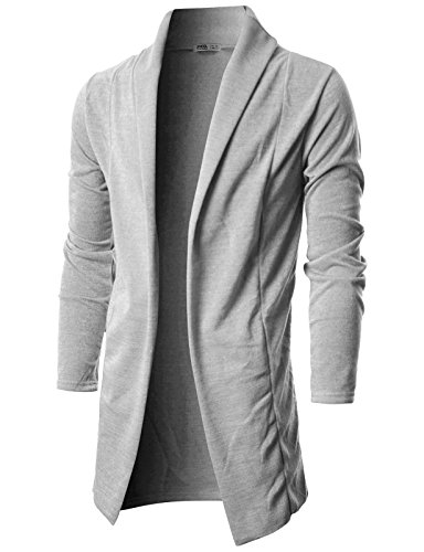 Ohoo Mens Long Sleeve Draped Open Front Shawl Collar Longline Cardigan/DCC026-GREY-M