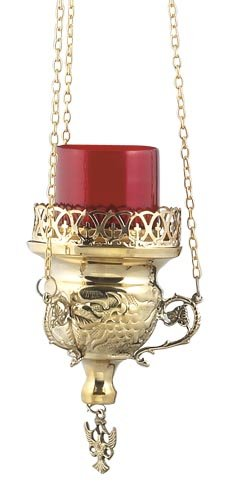 Hanging Brass Christian Orthodox Vigil Lamp (9770 B)
