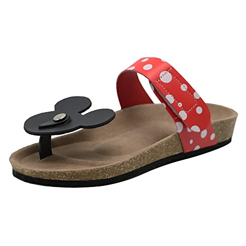TAOFFEN Women Mickey Mouse Dote Flip Flops Comfort Flat Sandals (41 EU, Red)