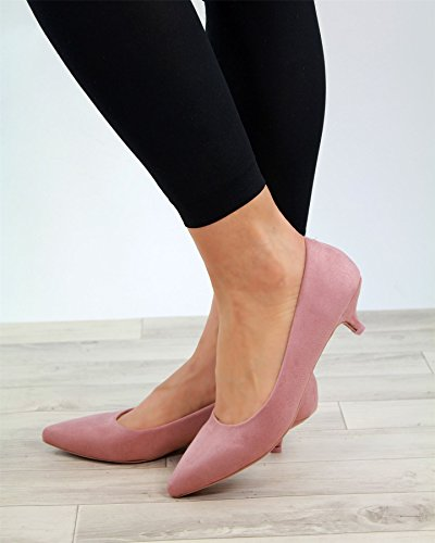 Larena Fashion New Womens Kitten Mid Heels Slip On Smart Court Shoes Pointed Toe Pumps Sizes Pink BfUg4qVk