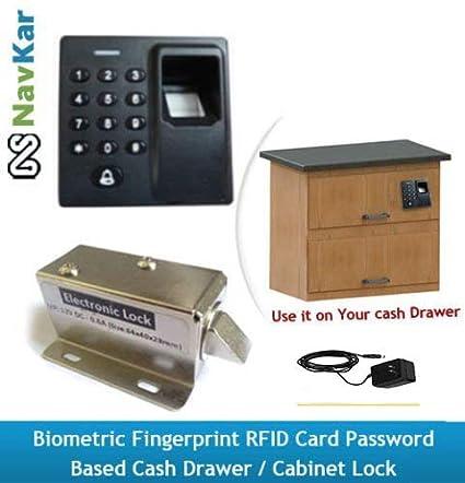 NAVKAR SYSTEMS Biometric Fingerprint RFID Card Password-Based Drawer