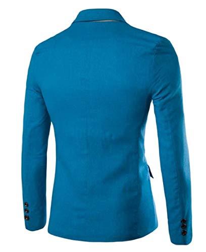 Blazer Collare Pura Cuterose Biancheria Girare Uomini up piumino Button Colore Blu Di BgRxvvq