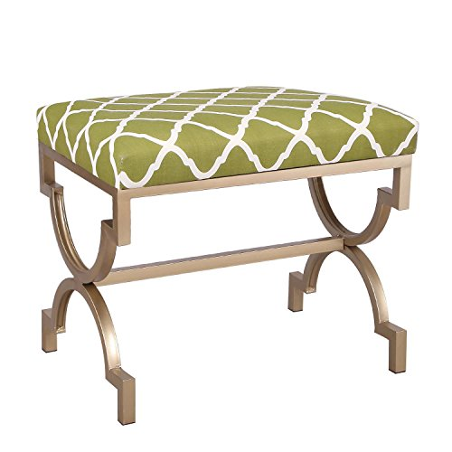 Joveco Modern Upholstered Fabric Cushion Metal Frame Footrest Stool, 21 Inches Height Green by Joveco