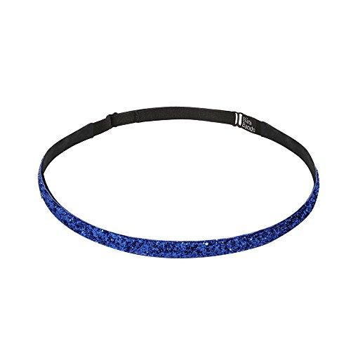 Lining Slip (Bani Bands Women's Glitter Skinny Adjustable Headband with Non-Slip Lining, Royal Blue)