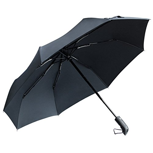 42 Inch Mini Folding Umbrella - TOTU Windproof Umbrellas Auto Open Close Folding Golf Strong Durable Compact Travel Umbrella Reinforced Ribs 60 MPH Windproof Canopy and Slip-Proof Handle, Portable Lightweight Easy Carrying Black