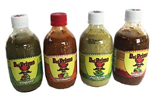 Del Primo Salsa Sauce Sampler 10.5oz Bottle (Pack of 4 Different Flavors)