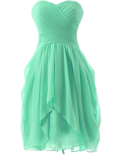 Cdress Short Bridesmaid Dresses Chiffon Strapless Prom Dress Evening Party Gowns Mint US 28W