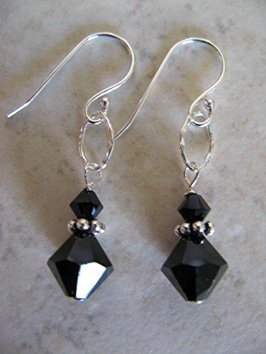 (Elegant Jet Black Swarovski Crystal Sterling Silver)