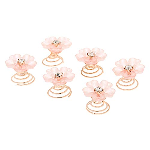 (Claire's Girl's Frosted Flower Hair Spinners - Pink, 6 Pack )
