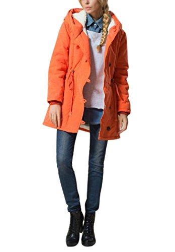 Mojessy Women's Winter Warm Wool Coat Hoodie Parkas Overcoat Fleece Outwear Jacket XXX-Large Orange