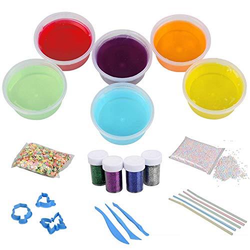 Gelatin Purified Water - Clear Crystal Slime Kits, Hometall 6 Colors Magic Jelly Mud Dough DIY Craft Kits with 5000pcs Foam Balls,2500PCS Fruit Slice,4 Boxes Glitter Shaker Jars,5PCS Straws and 6PCS Modeling Tools. (6 Colors)