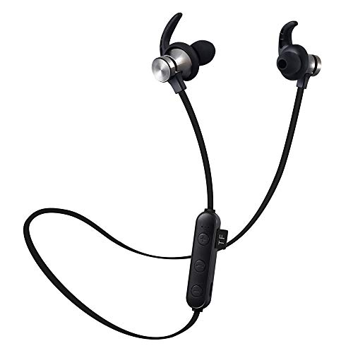 (Cailiaoxindong Magnetic Attraction Bluetooth Earone Headset Waterproof Sports 5.0 with Charging Cable Earone Build-in Mic Pluggable Card)