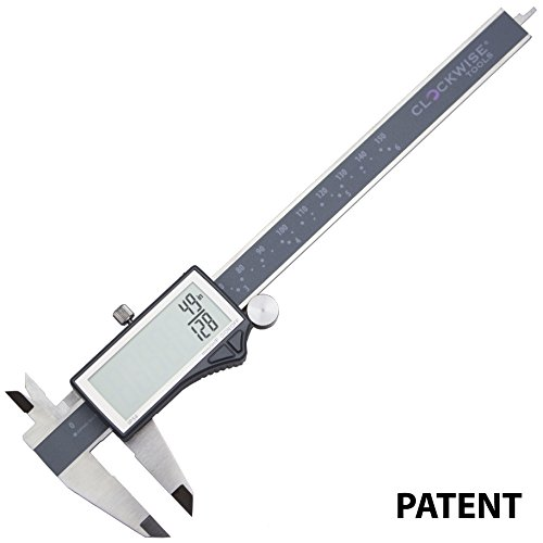 Sliding Caliper (Clockwise Tools DCLR-0605 Electronic Digital Caliper Inch/Metric/Fractions Conversion IP54 Protection 0-6 Inch/150 mm Stainless Steel Body Super Large LCD Screen Auto Off Featured Measuring Tool)