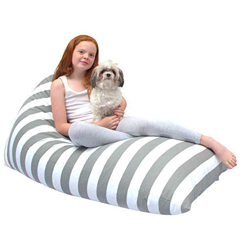 Butterfly Craze Stuffed Animal Storage Bean Bag Chair – Stuff 'n Sit Toy Bag Floor Lounger for Kids, Teens and Adult |Extra Large 200L/52 Gal Capacity |Premium Cotton Canvas (Grey/White Stripes)