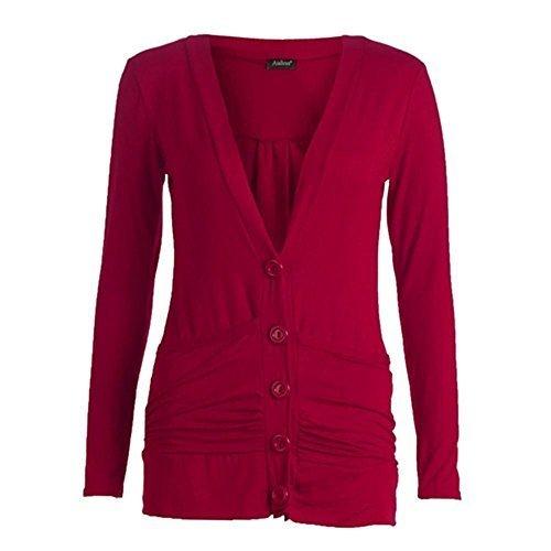 Jersey de damas con manga larga, bolsillos, botones estilo cárdigan de novio, tallas de camiseta Rojo