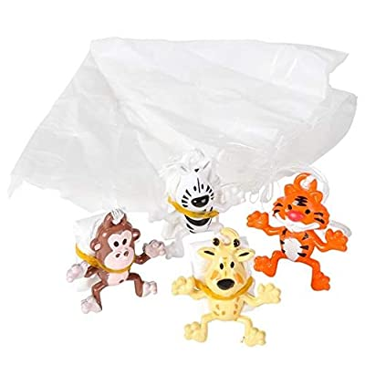 Rhode Island Novelty Assorted Zoo Animal Paratroopers One Dozen: Toys & Games
