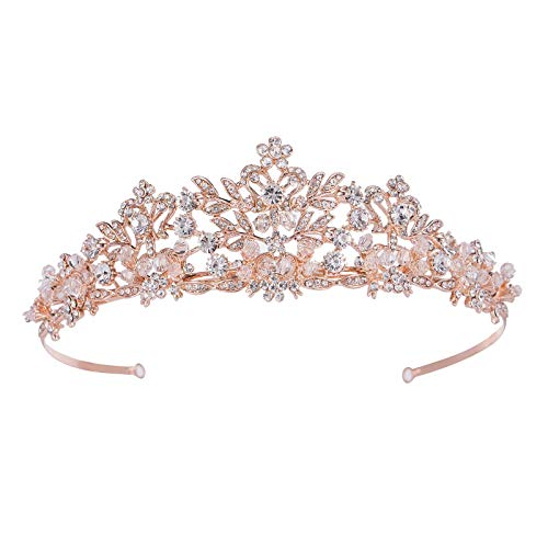 SWEETV Rose Gold Wedding Tiara for Women and Girls - Pageant Tiara Headband, Rhinestone Bridal Crown for -