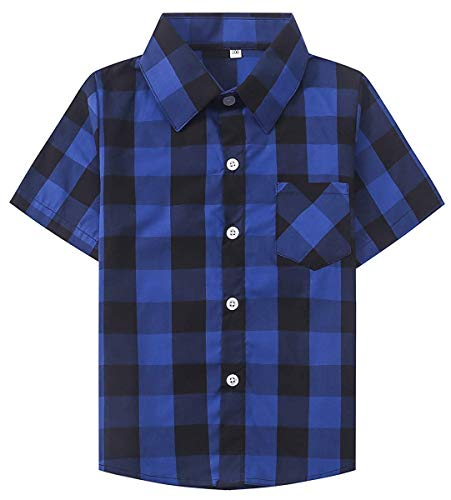 Baby Boy Shirts, Summer Short Sleeves Button Down Cotton Plaid Shirt for Baby Boy & Little Boy, Royal Blue, 12-18 Month = Tag -