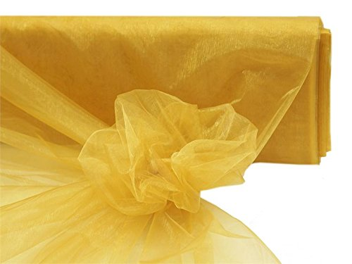 BalsaCircle 54-Inch x 40 yards Gold Sheer Organza Fabric by the Bolt - Sewing Craft Wedding Party Draping - Bolt Gold