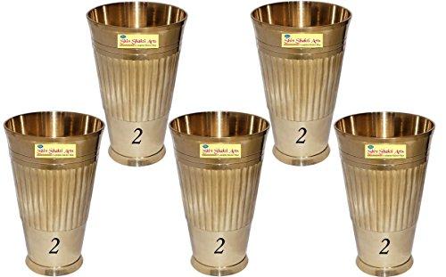 SHIV SHAKTI ARTS Handmade Pure Brass Glass Set of 5