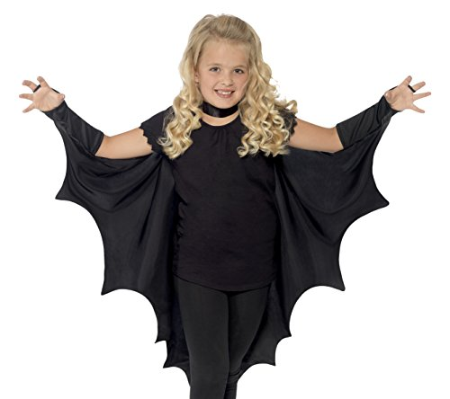 Smiffy's Kids Unisex Vampire Bat Costume, Wings, Black, One Size,  (Girls Bat Witch Costumes)