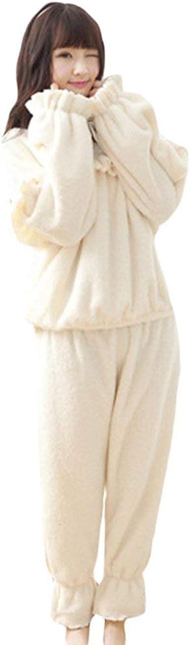 Pijamas Mujer Mujer Dos Piezas Set Manga Larga Coral Fleece ...