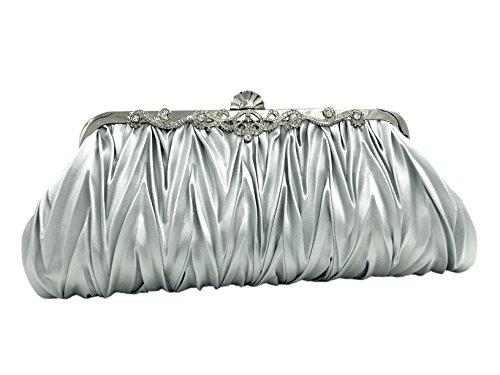 uni-love Vintage elegante embrague bolsa bolso de mano noche bolsos de raso para mujer blanco, plateado plata