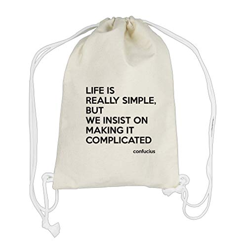 On Making It Complicated (Confucius) Cotton Canvas Backpack Drawstring Bag