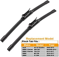 EMSUN Wiper Blad for Bmw 3-series E90 E90 F30 F31 F34 F80, Audi A3,Vw Jetta Passat Golf Mk5 Mk6 Cc Eos Scirocco Gti Windshield Wiper Blade Set