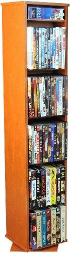 Revolving Media Library w Adjustable Shelves in Cherry Finish - Revolving Library