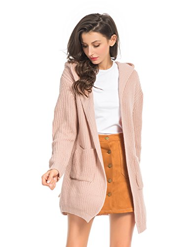 Choies Women's Pink Boho Long Sleeve Open Front Lace Up Back Long Sleeve Hooded Knit Cardigan With Pockets (Hooded Cardigan Pink)